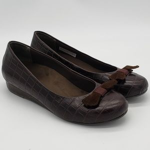 Vionic Lydia Brown Slip-on Ballet Wedge Shoes Sz 9